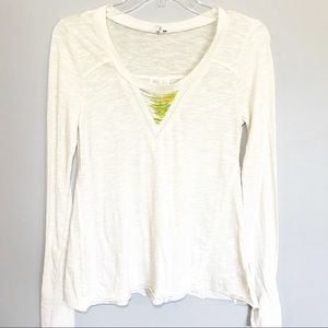 Free People Long Sleeve T Shirt Beaded Detail XS
